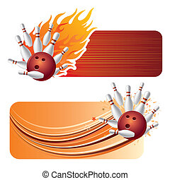 bowling with flames - bowling design element and flames