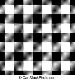 Lumberjack plaid pattern in black and white. Seamless vector pattern. Simple vintage textile design
