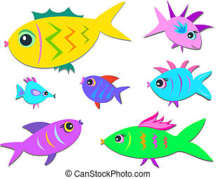 Seven Cute Fish - Here is a group of cute fish with...