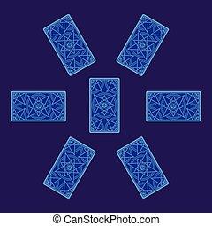 Tarot card spread. Reverse side. Vector illustration