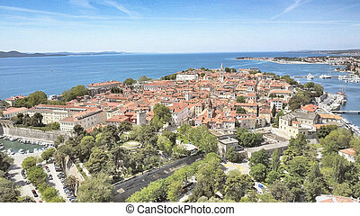 Zadar, coastline, Croatia. - Aerial shot of Zadar,...
