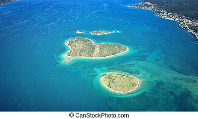 heart shaped Galesnjak island on the adriatic