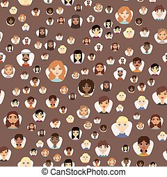 Seamless pattern avatars with facial features different...