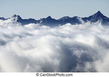 sea of clouds - peaks and sea of clouds in the Pyrenees