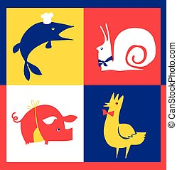 concept restaurant poster set with french food - rooster, pork, pike, snail. vector illustration rith cafe signs set