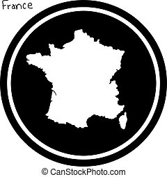 vector illustration white map of France on black circle,...