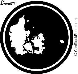 vector illustration white map of Denmark on black circle,...