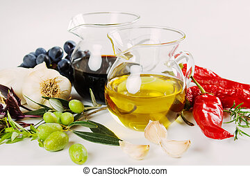 Olive oil and balsamic vinegar - Extra virgin olive oil with...