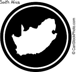 vector illustration white map of South Africa on black...