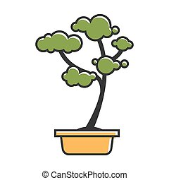 Traditional bonsai tree - Vector illustration of small...