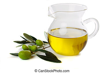 Extra virgin olive oil isolated on white background