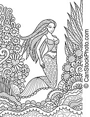 mermaid - Pretty mermaid swimming in the ocean for adult...