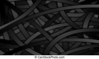 Black curved stripes abstract motion background. Seamless...