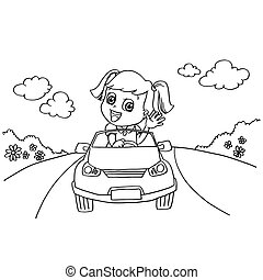 image of Little girl driving a toy car coloring page vector