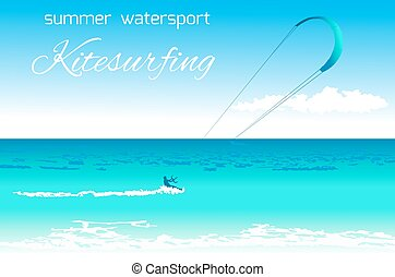 Kitesurfing summer watersport concept - Sea kite on tropical...