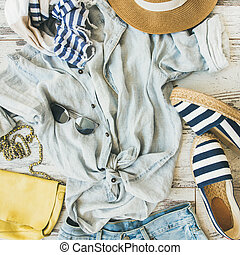 Summer woman's outfit flatlay, top view, square crop -...