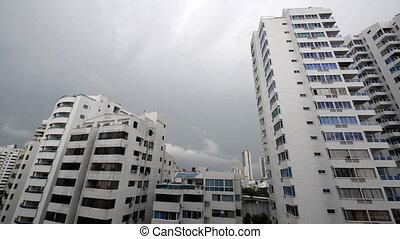 Lightning over Apartment Buildings - Lightning striking over...