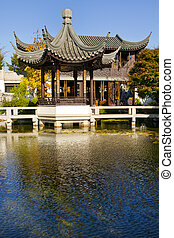 Pavilion and Teahouse at Chinese Garden by the Pond