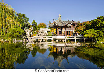 Reflection by the Pond in Chinese Garden - Reflection by the...