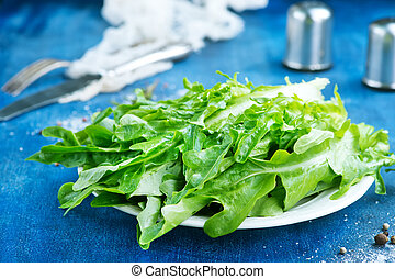 ruccola - fresh ruccola on white plate and on a table
