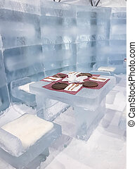 empty table in ice restaurant or ice bar