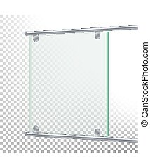 Advertising Glass Board Vector. Banner Mockup Illustration. Empty Glass Screen Banner