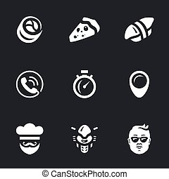 Vector Set of Fast Food delivery Icons. - Roll, pizza,...