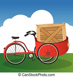 Tricycle transport - Vector Illustration of Tricycle...