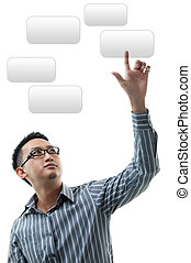 Hand pointing on visual screen - Asian businessman hand...
