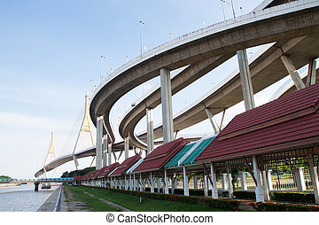 Samutprakarn, THAILAND : June 20, 2017 : Bhumiphol bridge...