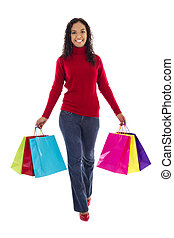Female Shopper - Stock image of female shopper with colorful...