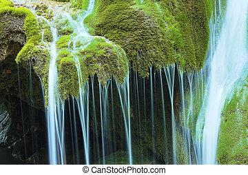 detail of beautiful waterfall, the Bigar cascade in Caras...