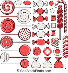 Set of color illustrations with red candies. Isolated vector objects.
