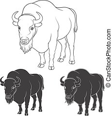 Set of black and white vector images with a bison.