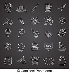 School Objects Icons Collection
