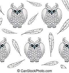 Vector seamless pattern with white polar owls and feathers.