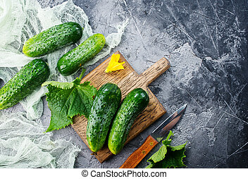 cucumbers - raw cucumbers on a table,stock photo
