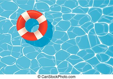 Red pool ring floating in a blue swimming pool. Summer background.