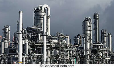 pipework oil industry factory - Pipework at a petrochemical...
