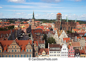 Gdansk city Poland - View over the historical city center of...