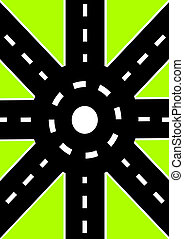 Road junction - Roads of different directions converge in...