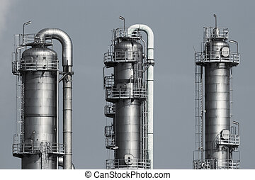 Pipelines of a oil and gas refinery industrial plant -...