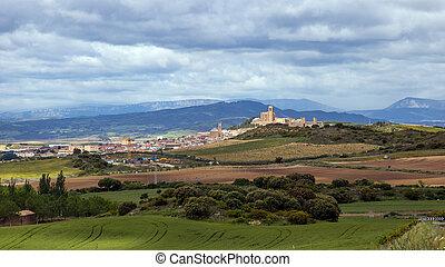Landscape scene Navarra Spain - Scenic view over Artajona...