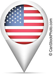 USA flag map pointer with shadow. Vector illustration