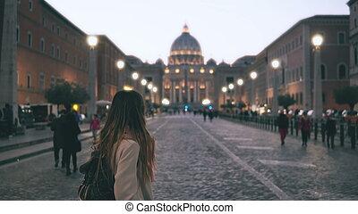 Young beautiful woman walking in Piazza di spagna in Rome,...