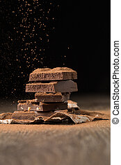 Chocolate porous and with nuts - Broken chocolate porous and...
