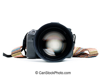 Camera with lens and belt - Photo camera with lens and belt...
