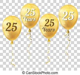 Golden Transparent Balloon 25 Years - Golden transparent...