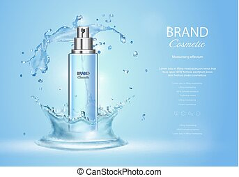 Ice toner ads with blue water splash. Spray bottle and fresh...