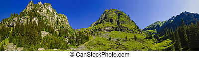 The beautiful mountain panorama with the Fagarasi Mountains in Romania